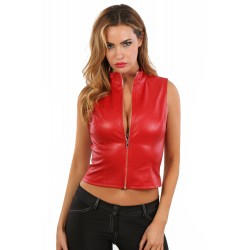 Top Gilet Simili Cuir Rouge...